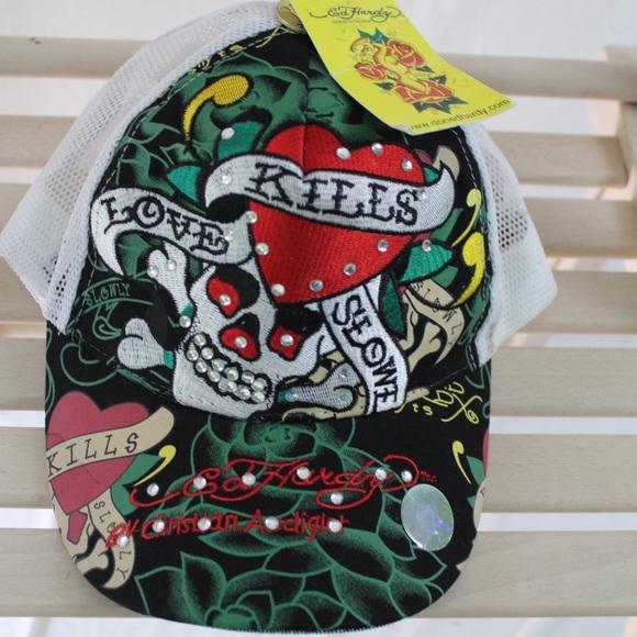 a6346ca1345 NWT Ed Hardy Mesh Trucker Hat Love Kills Slowly